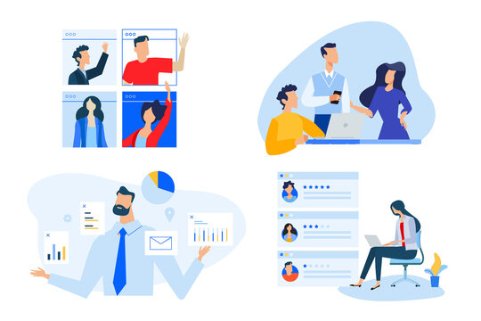 Set of people concept illustrations. Vector illustrations of video meeting, data analytics, star rating, team management.