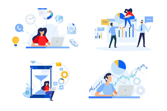 Set of people concept illustrations. Vector illustrations of business plan, project management, time management, data analysis, stock market support.