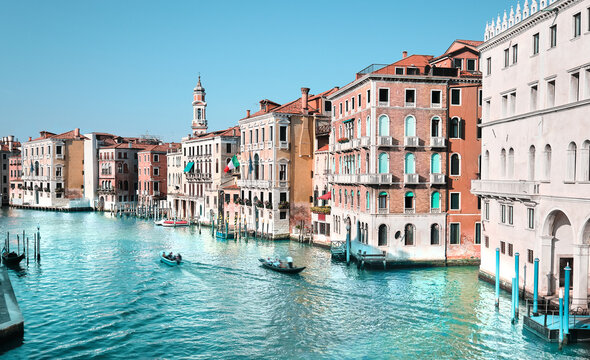 Traditional architecture on Grand Canal in Venice, Italy.