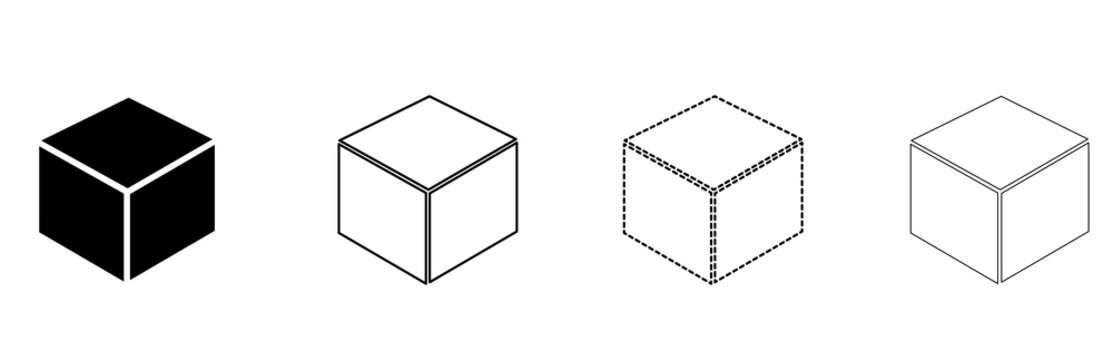Set of Cube icon set with perspective model of a cube.  illustration