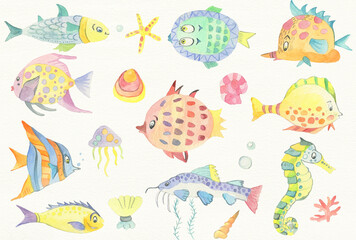 Collection of cute ocean fish on white background. Starfish, jellyfish, seashell, catfish, seahorse, tropical fish. Watercolor illustration.