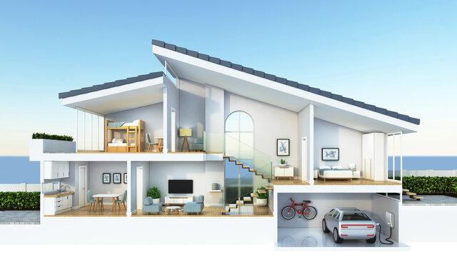 Modern home cross section, 3d rendering