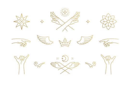 Vector line elegant decoration design elements set - wings and gesture hands illustrations minimal linear style