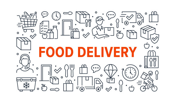 Food delivery horizontal poster with line icons. Vector illustration - courier on bike, door contactless delivering, grocery list, dinner outline pictogram for fast distribution flyer or brochure