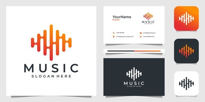 Music logo illustration vector graphic design. Suit for brand, advertising, song, sabilizer, icon, and business card