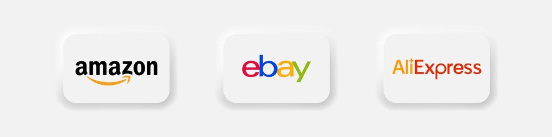 Amazon, ebay, aliexpress. - Collection of popular online shoping logo in neomorphism style. Neumorphism. Editorial vector illustration. Vinnitsa, Ukraine - October 5, 2020