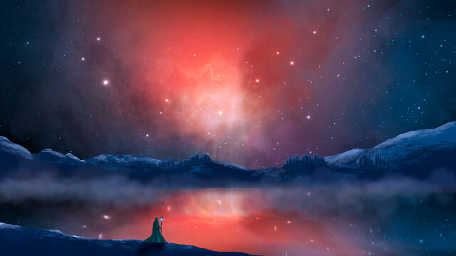 Magician stand in sci-fi landscape with reflection on lake, river mountain, rock, fog and colorful nebula. Digital painting. Elements furnished by NASA