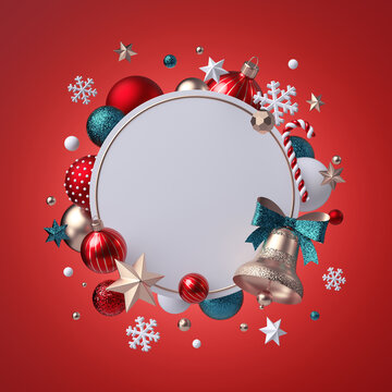 3d Christmas round wreath isolated on red background. Golden bell with green bow. Blank frame, white banner, xmas ornaments, glass balls, snowflakes, stars and candy cane. Seasonal festive clip art