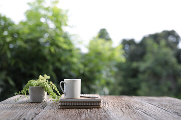 White coffee mug and notebooks with plant on brown wooden table