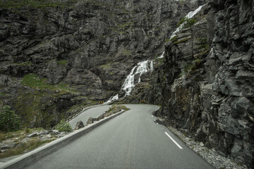 Wall Mural - Norwegian Trollstigen Scenic Road with Stigfossen Waterfalls