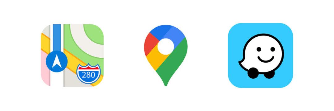 Collection of popular gps app: Apple maps, google maps, waze. Neumorphism style. Realistic set. Editorial vector illustration. Vinnitsa, Ukraine - October 5, 2020