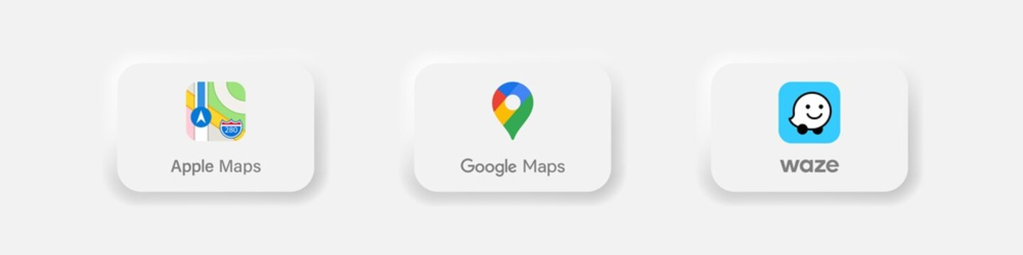 Collection of popular gps app: Apple maps, google maps, waze. Neumorphism style. Realistic set. Editorial vector illustration. Vinnitsa, Ukraine - October 5, 2020