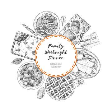 Family dinner label. Food menu design template. Vintage hand drawn sketch vector illustration. Circle concept. Engraved image