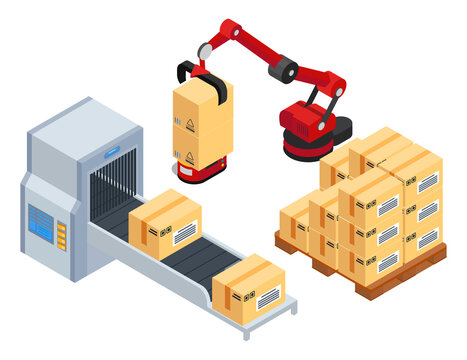 Isometric 3d picture. Robotic machine put boxes from conveyor belt at wooden pallet. Automatic robot packaging product into card boxes. Industrial engineering machine at factory, isolated at white