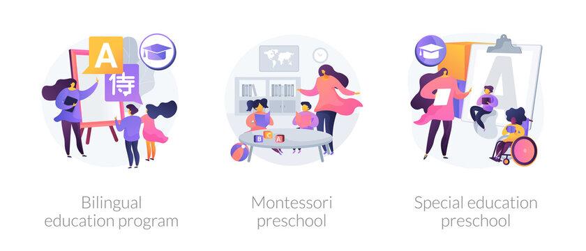 Early education program abstract concept vector illustration set. Bilingual immersion program, Montessori preschool, special education preschool, child development, disability abstract metaphor.