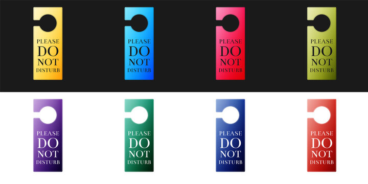 Set Please do not disturb icon isolated on black and white background. Hotel Door Hanger Tags. Vector.