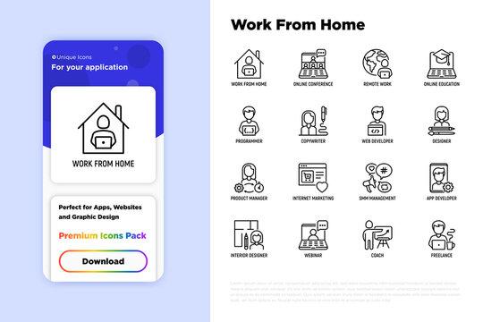 Work from home thin line icons set: online conference, freelancer, online education, programmer, developer, copywriter, web designer, product manager, internet marketing. Vector illustration.