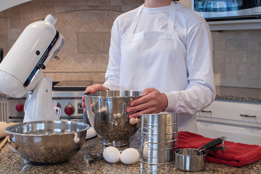 chef-baker preparing to bake in a high end kitchen in home