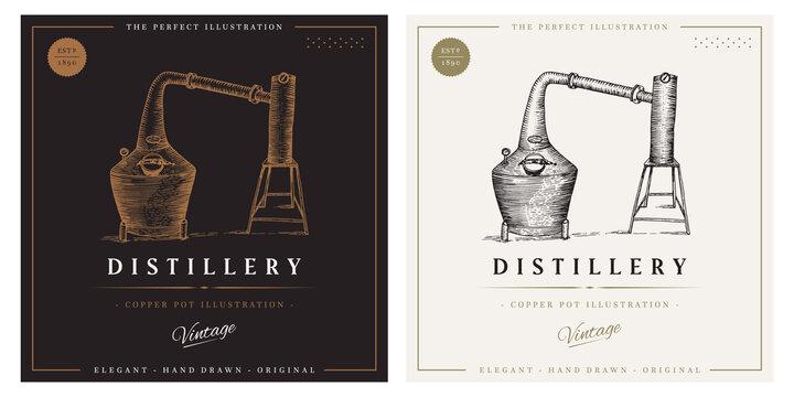 whiskey vintage logo distillery copper pot still decanter illustration