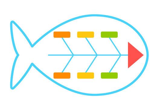 Fishbone diagram icon. Clipart image isolated on white background.