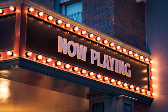 """""""Now Playing"""" Vintage Marquee Bulbs light sign."""