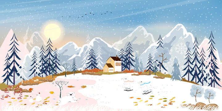 Winter landscape, Celebrating Christmas and new year in village in sunny day with blue sky, Vector of horizontal banner winter wonderland in countryside with happy polar bear playing in the park