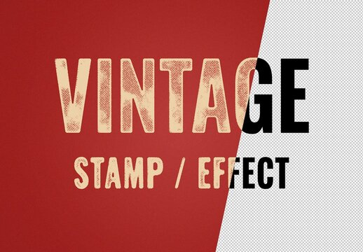 Vintage Stamp Distressed Text Effect Mockup