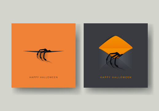 2 Halloween Cards with Monster Hands