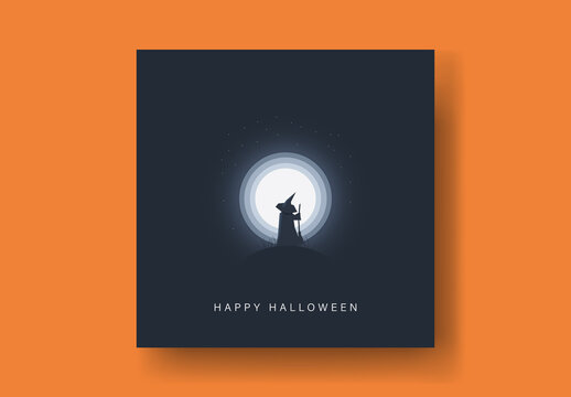 Halloween Card with Witch in Moonlight Illustration