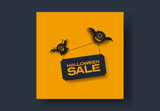 Halloween Sale Banner with Monster Illustrations