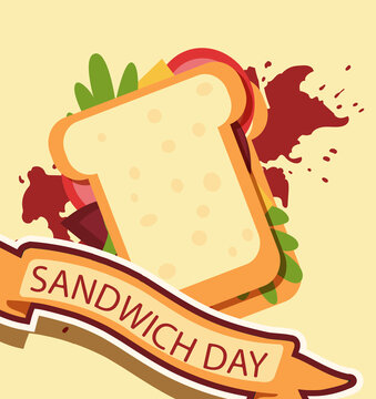 """vector poster design for national sandwich day. image of a delicious sandwich with vegetables and cheese. lettering """"sandwich day"""""""