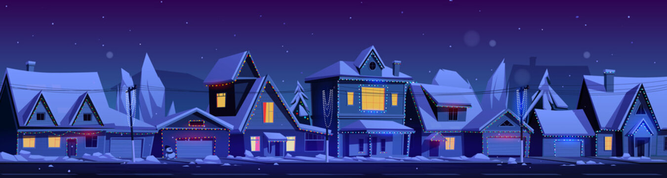 Residential houses with christmas decoration at night. Vector cartoon winter landscape with street in suburb district, cottages with snow on roofs and holiday garlands