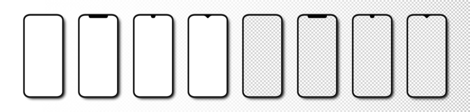 Smartphone. Phone with White and Transparent Screen. Smartphone mockup. Cell Phone. Template mockup Smartphone in realistic design. Vector illustration
