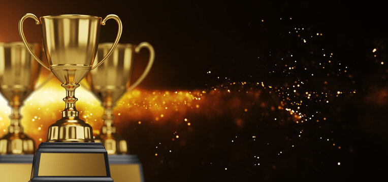 close up golden trophy award with falling confetti. copy space for text. 3d rendering.
