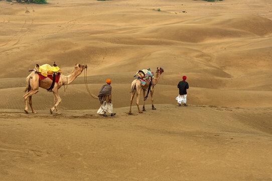 Man with camel walking across sand dunes in Jaisalmer, Rajasthan, India.