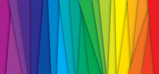 CMYK RGB or pms. Color rainbow stripes background with shadow. Cyan magenta yellow black. Spectrum gradient. Concept for presenting color printing. Line colors mode. Prepress.