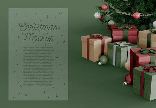 Gift Box, Christmas Tree and Holiday Ornaments with Background Mockup