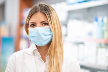Printed roller blinds Equestrian Smiling pharmacist wearing covid coronavirus mask in her pharmacy