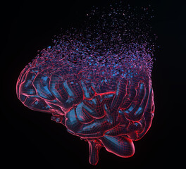 Wall Mural - Human brain exploding over black background