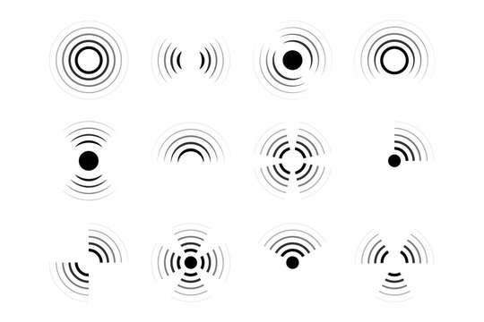 Sonar, radar, radio waves, internet connection and radiation icons. Vector icons collection.