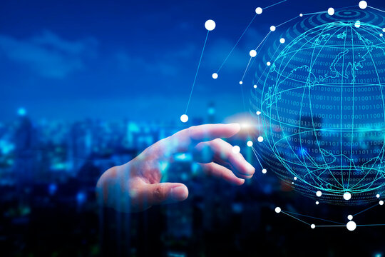 Hand touch connects business disruption partners handshake with world globe cityscape abstract view and futuristic network 5G connection blockchain leadership technology innovation digital transform
