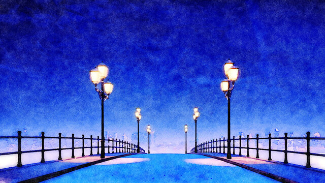 Decorative watercolor landscape with empty bridge and pavement walkway lit by street lights against city skyline background at calm winter night. Digital art painting from my own 3D rendering file.