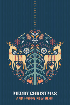 Christmas New Year nordic deer pine tree card