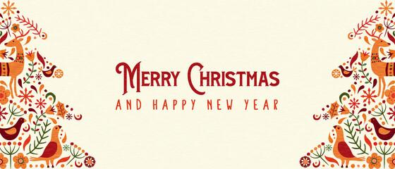 Photo sur Plexiglas Dinosaurs Christmas New Year retro folk art pine tree banner