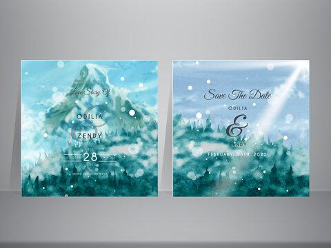 snowy mountain landscape wedding invitation cards