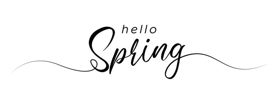 hello spring letter calligraphy banner