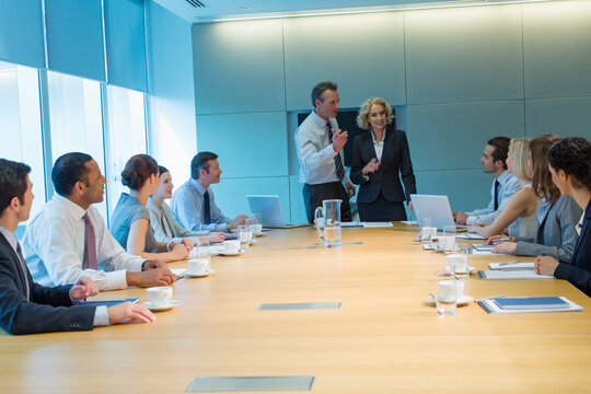 Corporate business people talking in conference room meeting