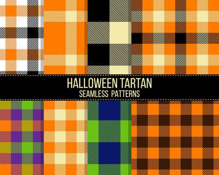 halloween tartan seamless patterns set