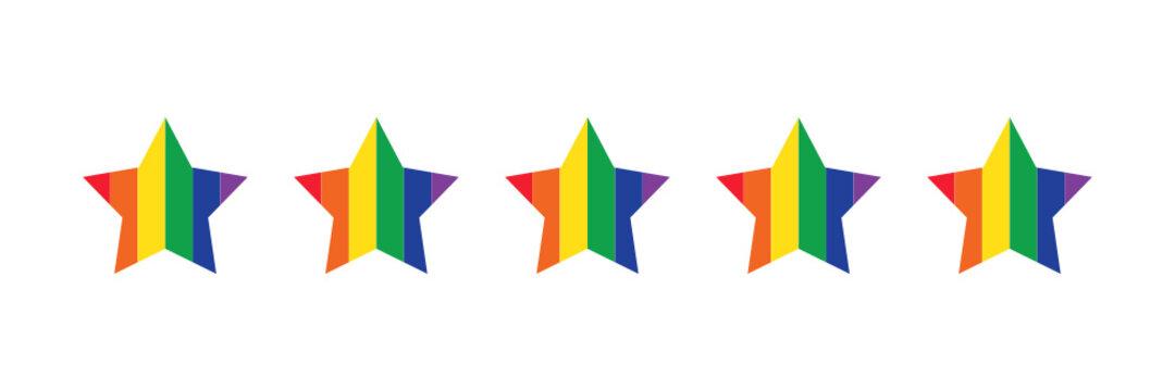 Five star rating. Rainbow LGBTQ colors