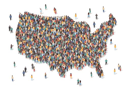 USA map made of many people, large crowd shape. Group of people stay in us country map formation. Immigration, election, multicultural diversity population concept. Vector isometric illustration.